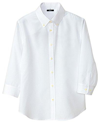 AITOZ|レディース七分袖シャツ【軽量ワッフル/吸汗速乾】#AZ-8057ホワイト3L