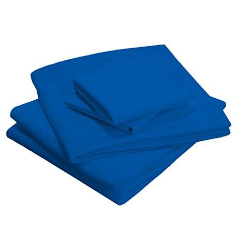 Scalabedding 58,4 cm Poche profonde 100% coton égypcravaten 400 fils Full-xxl Taille solide de lit Bleu égypcravaten