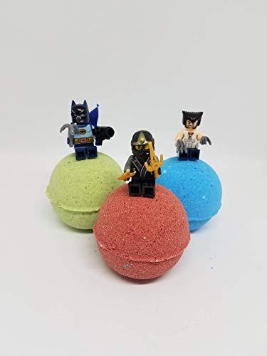(3 Bath Bombs Super Hero, Villian and More! Minifigures, Actionfigures, mini action figures, boy gift, boy party, party favors, kid gift, bath bomb, bath)