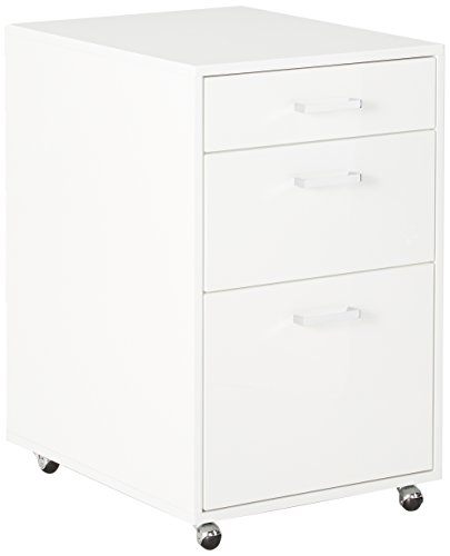 Major-Q Modern Home Office Furniture High Gloss & Chrome White File Cabinet (7092454) by Major-Q