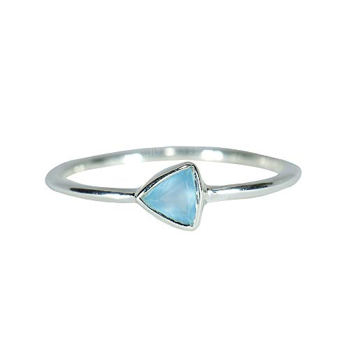 Pura Vida Silver Triangle Chalcedony Ring Size 7 - .925 Sterling Silver Ring
