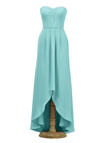 Gown Aqua Prom Bridesmaid Party Low Chiffon Evening Strapless High Alicepub Dress blue TnvC4zq