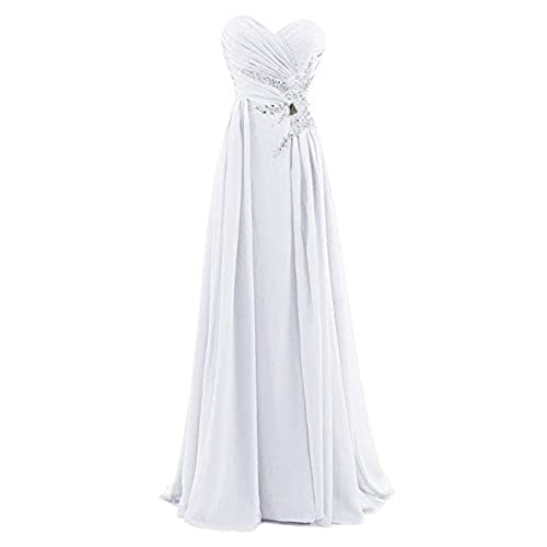 Dresstells Sweetheart Beading Floor-length Chiffon Prom Dress Evening Gown White Size 10