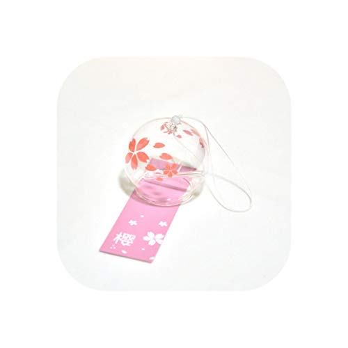 winkwink decorative-bells Creative Japanese Style Wind Chime Glass Hanging Craft Wind Bell Home Decor Sakura Cherry Blossom Pattern Multiple Style Bedroom,13