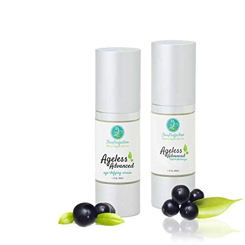 Ageless Age-Defying Skin Care Serum and Moisturizer Kit Matrixyl Synthe 6, Adipofill, Ten's Up, Spin Trap, Haloxyl, Syn-Ake, Syn-Coll, and Snap 8 Skin Perfection