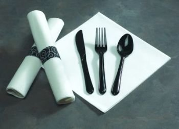 Linen Like Caterwrap Rolled Pre-Wrapped Black Cutlery (Rolled Pre Cutlery Black)
