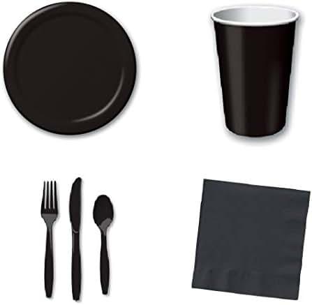 196 Pcs Black Disposable Party Supplies Set | 6.7