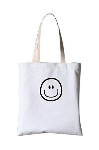 Literarische Segeltuch-Tasche Schulter-Kurier-Druck-Handtasche ein Smiley-Gesicht Emoji Weiß