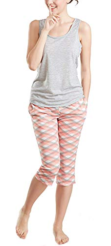 Ink+Ivy Summer Pajamas for Women, Cute Print Capris Pajama for Woman - Pjs Women Jersey Tank Top and Capri Jogger Pants Set Argyle L ()