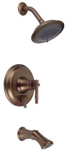 Danze D500045RBDT South Sea Single Handle Tub and Shower Faucet Trim Kit with 6-Inch Showerhead, Distressed Bronze (Valve Not Included) ()