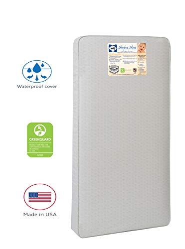 Sealy Baby Perfect Rest Waterproof Standard Toddler & Baby Crib Mattress - 150 Extra Firm Coils, 51.7