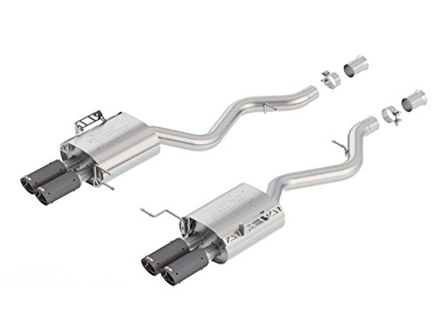 Borla 11882CF ATAK Axle-Back Exhaust System 2.75 in. Incl. Ext. Pipes/Right and Left Mufflers/Hardware/Quad 3.125 in. Tips Dual Split Rear Exit ATAK Axle-Back Exhaust -