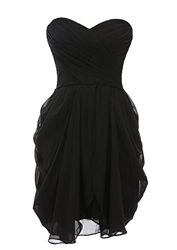 Kiss Dress Short Strapless Prom Dress Soft Chiffon Evening Dress XL (Black Strapless Prom Dress)