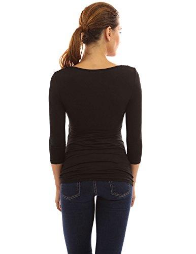 PattyBoutik Mujer estilo 2en1 mama túnica con mangas de 3/4 de maternidad de enfermería negro