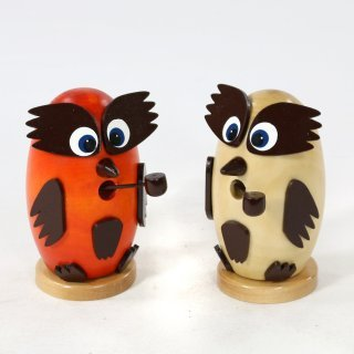 Sigro 2 Assorted Owl Smokers Figure, 10 cm, Wood, Multicolour, One Size