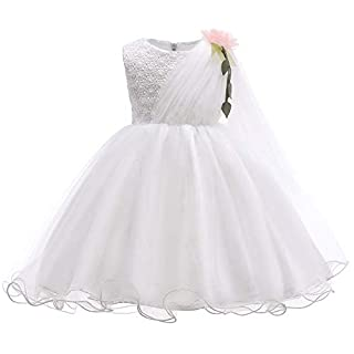 MORCOE Toddlers' Puffy Tutu Lace Floral Embroidered Party Birthday Princess Gown Girls'Summer Daily Wear Dresses 2-8 Years (White, 3-4Y)