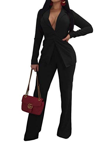 Jeanewpole1 Womens Sexy 2 Piece Long Sleeve Slim Fit Blazer Jacket with Long Pants Suit Set (X-Large, Black)