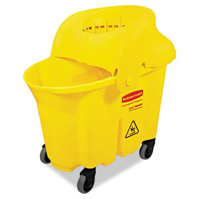 (RCP759088YEL WaveBrake Institutional Bucket/Strainer Combo, 8.75 gal, Yellow)