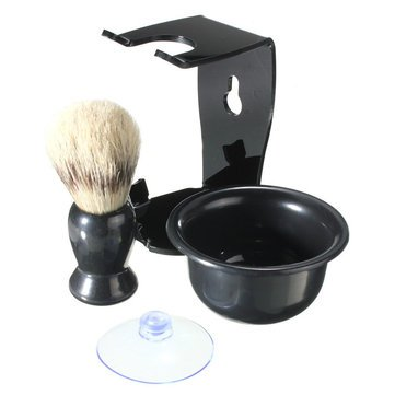 Suction - Other Accessories - Black Men'S Shaving Kit Brh Suction Cup Stand Bowl Set Cup Brh Thicket Copse Blackness - 1PCs