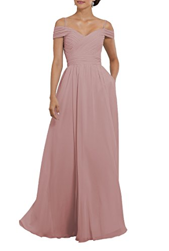 YORFORMALS Women's Off The Shoulder Pleated Chiffon Bridesmaid Dress Long with Spaghetti Straps Size 8 Blush Pink