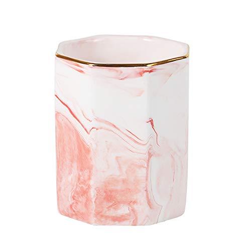 YOSCO Ceramic Desk Pen Holder Stand Marble Pattern Pencil Cup Pot Desk Organizer Makeup Brush Holder(Pink) ()