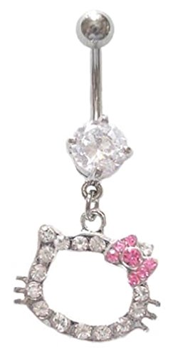 - Hello Kitty Pink Bow Cz Head dangle Belly navel Ring piercing bar body jewelry