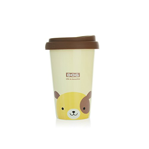 UPSTYLE Cute Coffee Mug Lovely Ceramic Travel Mug Tumbler with Silicone Lid To Go Tea Cups for Dog Lovers Reusable Animal Mugs Eco Bamboo Cup,13.5oz (Beige Dog)