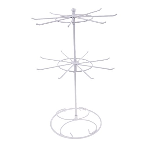 Jili Online Rotating Iron 2-Tier Revolving Stand Rack Jewelry Holder Display with 16 Hooks - White