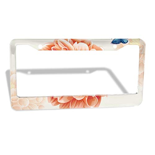 - MUMO Art Flowers License Plate Frame, 2 Pcs 4 Holes Aluminum Car Licence Plate Holder Covers for All Standard US - Sleek Car Accessories, Gorgeous Covers for License Plates