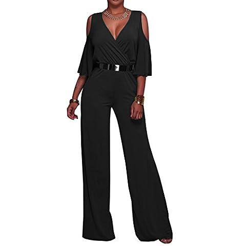 HannahZone Womens Deep V Neck Sexy Casual High Waist Jumpsuit Loose Cold Shoulder Wide Leg Long Romper with Belt Black
