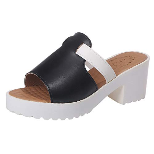 Tantisy ♣↭♣ Casual Shoes for Women/Summer Women's Non-Slip High Heels Square Heel Thick Outdoor Slippers Sandals Black