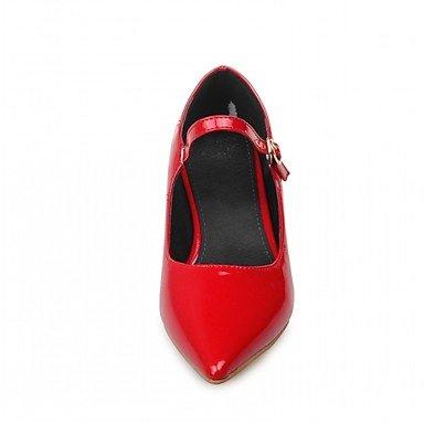 Talones de las mujeres de cuero Primavera Otoño Comfort oficina y carrera del vestido ocasional de tacón grueso Hebilla Negro Amarillo Rojo Blanco Black