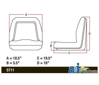 A & I Deluxe Midback Utility Seat - Black, Model# TM555BL