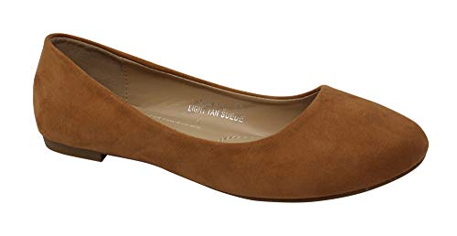 Bella Marie Stacy-100 Women's Round Toe Suede Leather Slip on Boat Ballet Flat Shoes Light Tan 7.5 ()