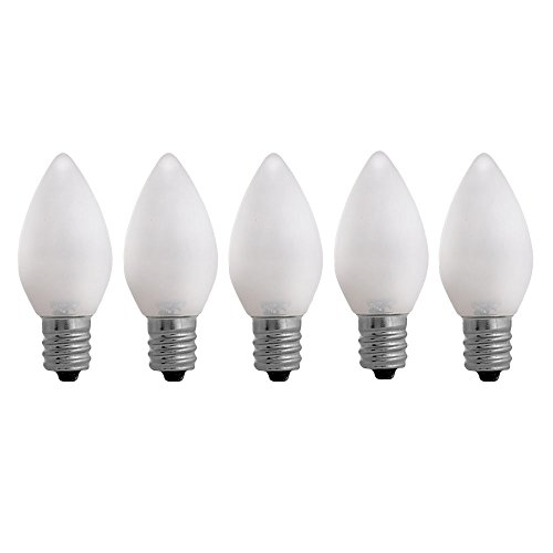 C7 Warm white Opaque LED Bulbs - 5 pack Smooth Lens Warm white Opaque C7 Replacement Bulbs (C7 Led Replacement)