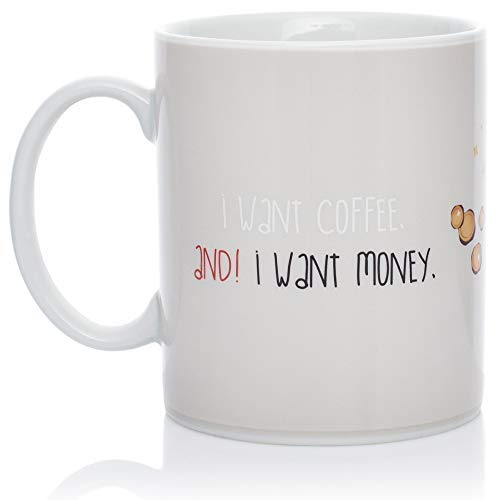 InGwest Home. New Year Pig Mug. Changing Color Mug. Heat Sensitive Mug. I want Coffee and I want Money!