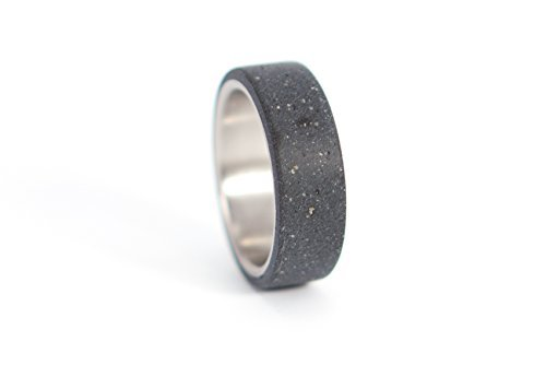 Men's titanium and black concrete ring. Modern and industrial unique wedding band. Water resistant and hypoallergenic. (00700_7N) by Rosler