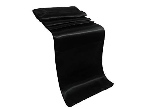 Mikash ELINA'S Pack OF10 Wedding 12 x 108 inch Satin Table Runner Wedding Banquet Tion- Gold (Black) |
