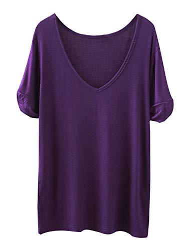 SheIn Women's Summer Short Sleeve Loose Casual Tee T-Shirt Dark Purple# X-Large