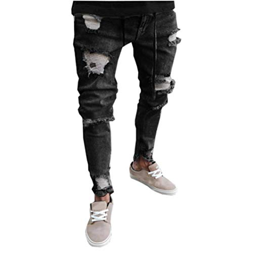 iZHH Mens Skinny Stretch Denim Distressed Ripped Freyed Slim Jeans Trousers(Dark Gray,32) ()