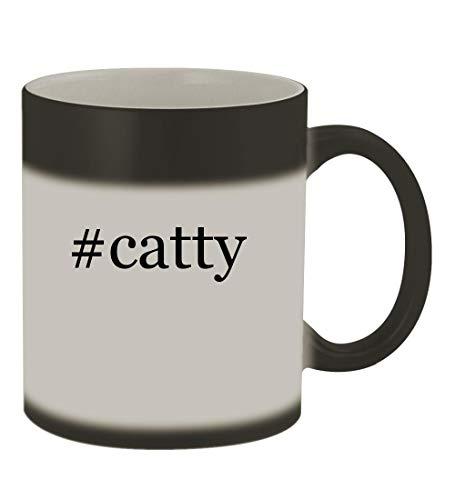 #catty - 11oz Color Changing Hashtag Sturdy Ceramic Coffee Cup Mug, Matte Black