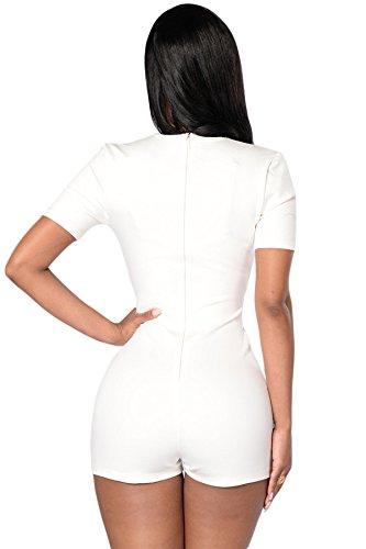 Neuf pour femme Blanc et Noir Couleur Bloquer col en V plongeant et Barboteuse JumpSuit Combinaison Catsuit Club Wear Taille M UK 10EU 38
