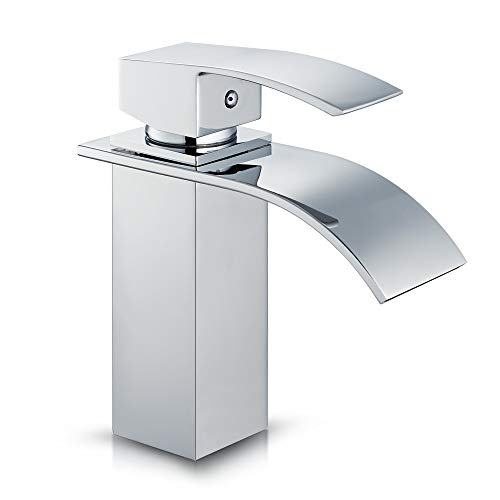 ROVATE Bathroom Sink Faucet, Brass Single Handle Single Hole Waterfall Mixe Faucet/Tap Deck Mounted on Sink, Polished ()