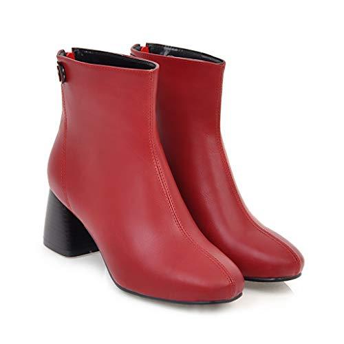 Red Stivali con Tacco Basso da Donna CXQ Tacco Punta a Warm Stivaletti xvanIqCwg