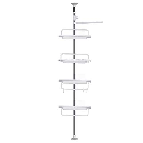 Vailge Adjustable Constant Tension Corner Shower Caddy,Rustproof Stainless Steel Shower Caddy Pole,4 Positionable Shelves Tension Shower Caddy,Strong and Sturdy,White -1 Pack