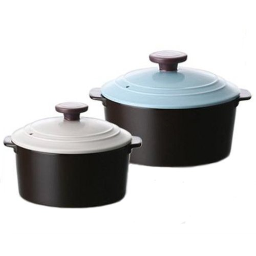 NEOFLAM Neo Ceramic Dandy 2 Set Pots 14cm 18cm (s1001527) Strong surface Durability Pot by Neoflam