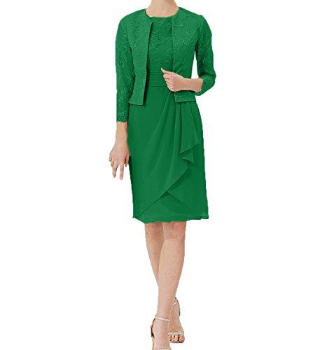 Spitze Elegant Jaket Langarm Damen Etuikleider Charmant Brautmutterkleider Partykleider Knielang Abendkleider Grün mit zA7xxvw