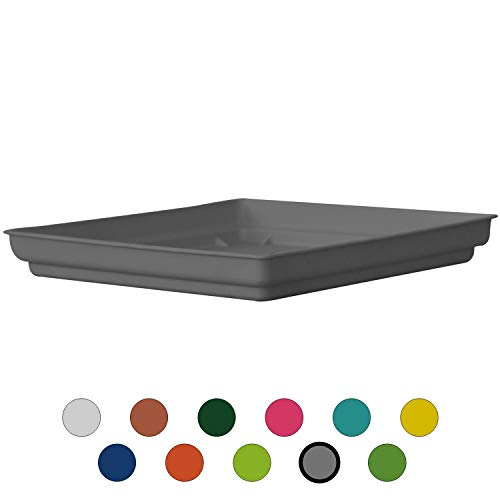 ALMI Plastic Accent Square Planter Drip Tray 10.5-Inch Ideal for 14-inch - for Plants, Flowers, Pot, Indoor, Outdoor, Grey