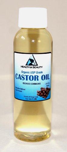 Castor Oil USP Grade Organic Cold Pressed Pure Hexane Free 2 oz