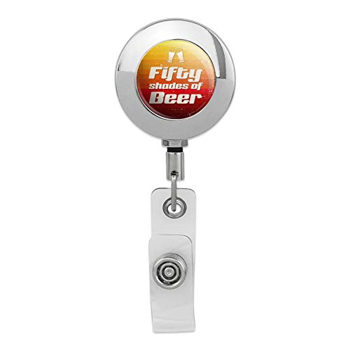 Fifty Shades of Beer Retractable Reel Premium Metal Chrome Badge ID Card Holder ()